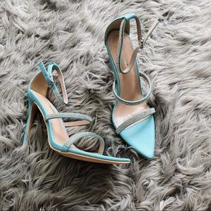 Teal Open Toe Strapped Heels